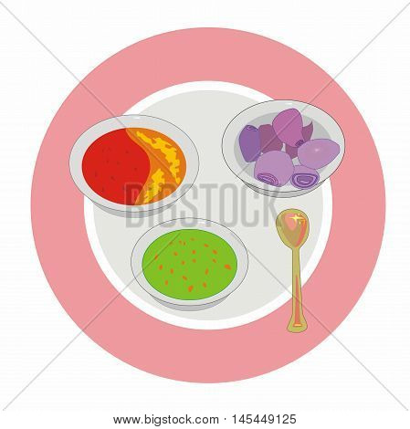 Vector indian spices on a round plate: green chilli paste, red chilli with honey and red onion