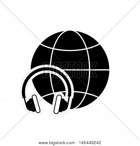 flat design earth globe diagram and headphones icon vector illustration