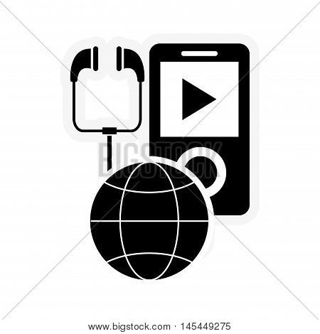 flat design mp3 player and earth globe diagram icon vector illustration