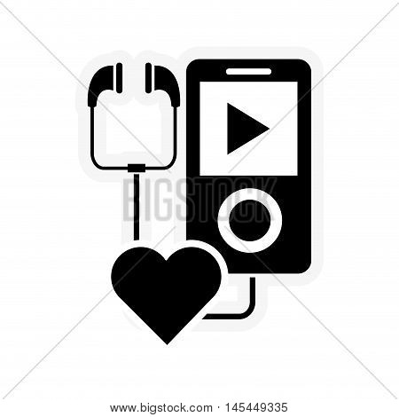 flat design mp3 player and heart cartoon icon vector illustration