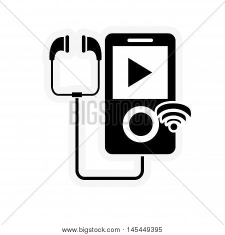 flat design mp3 player and wifi signal icon vector illustration