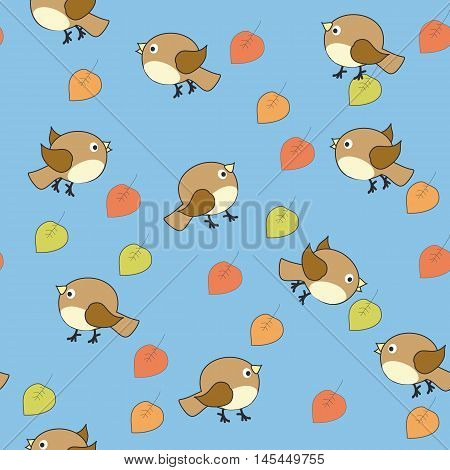Seamless baby ornament composed of many small brown birds and multi-colored autumn leaves on a blue background.