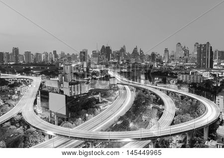 Black and White,  Highway interchanged with city downtown background, Bangkok Thailand
