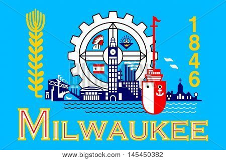 Flag of Milwaukee in the State of Wisconsin of United States.