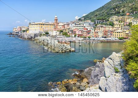 View of Nervi fishing village, Italy. Located 12 miles Northwest of Portofino it is a district of Genoa.