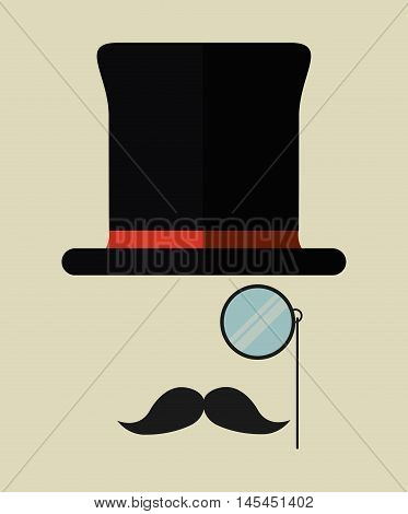hat lupe glass mustache male accesory hipster old antiwue con. Colorful design. Vector illustration