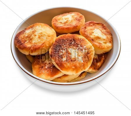 Cottage cheese pancakes on a plate. Food