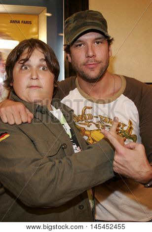 Andy Milonakis and Dane Cook at the Los Angeles premiere of 'Waiting' held at the Mann Bruin Theater in Westwood, USA on September 29, 2005.