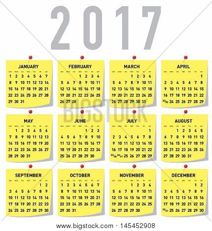 Print Ready 2017 year calendar on yellow sticky notes, week starts on Sunday, EPS 10 vector