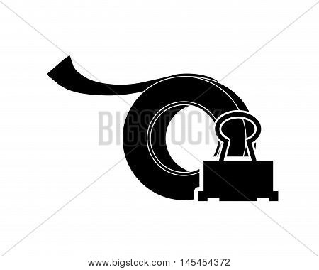 flat design tape roll and clerical pin icon vector illustration
