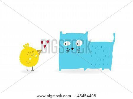 Bird in love with a Cat vector illustration