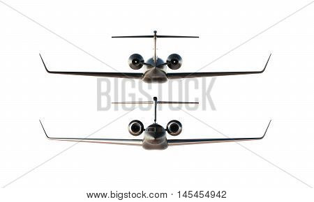 Photo Black Matte Luxury Generic Design Private Airplane Model. Clear Mockup Isolated Blank White Background.Business Travel Picture.Left Right Side View. Horizontal, . 3D rendering