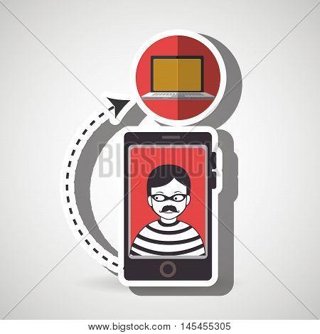 cellphone hacker app icons vector illustration eps 10