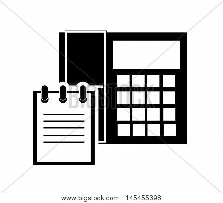 flat design telephone and notepad icon vector illustration