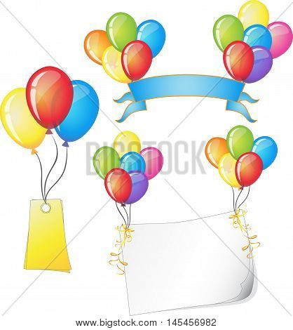 Colorful balloons festive with text bar template set vector illustration. Balloons beautiful toy party day celebrate, isolated helium color carnival tool. Clip art and icon birthday balloon