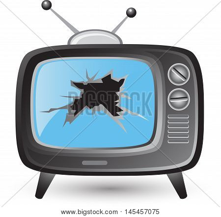 Retro tv broken screen vector set flat design on a white background. illustration