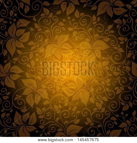 Seamless gold pattern with translucent vintage flowers (vector EPS 10)