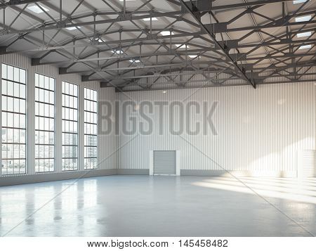 Empty building bright hangar interior with large windows. 3d rendering