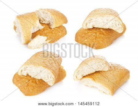 Two loaves of fresh Italian durum wheat bread on white background