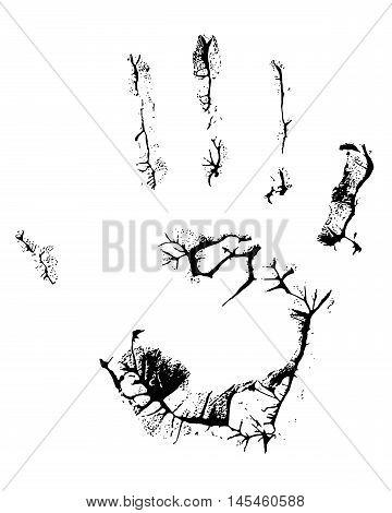 fat human hand imprint on black background, vertical