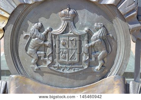 BORODINO RUSSIA - 2014 29th June: A bas-relief with the Russian princes Bagration coat of arms on a tomb of Peter Bagration in Borodino Russia.