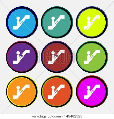 Escalator Icon Sign. Nine Multi Colored Round Buttons. Vector