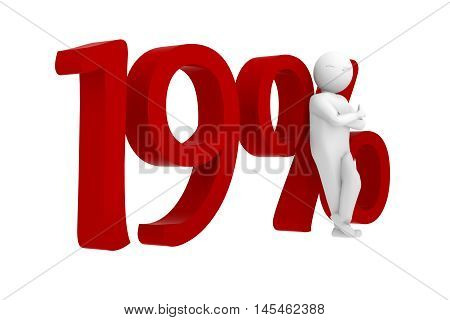 3d human leans against a red 19%