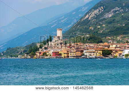 The ancient small town of Malcesine on the Garda Lake coast. Veneto Italy Europe