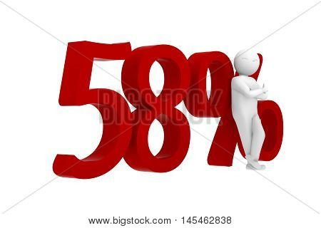 3d human leans against a red 58%