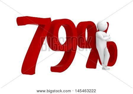 3d human leans against a red 79%