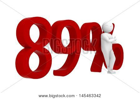 3d human leans against a red 89%