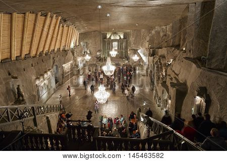 KRAKOW, POLAND - APRIL 04, 2015: Chapel in Wieliczka salt mine near Krakow in Poland on April 04, 2016.