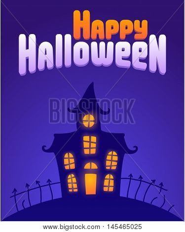 Halloween night background with haunted house. Happy Halloween greeting card vector illustration.