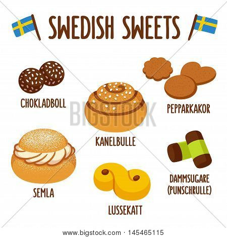 Traditional swedish sweets. Chokladboll (chocolate balls) Kanelbulle (cinnamon roll) Pepparkakor (ginger snaps) Semla (whipped cream bun) lussekatt (saffron bun) and dammsugare (punch roll).