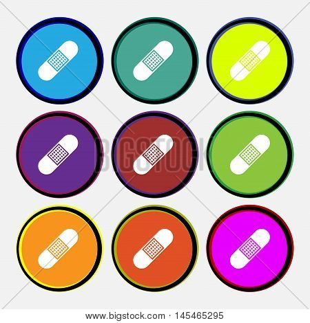 Band Aid Icon Sign. Nine Multi Colored Round Buttons. Vector