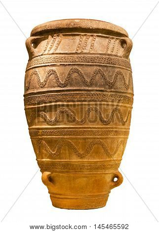 Minoan large storage jar from Knossos palace (1450-1400 B.C.) isolated.