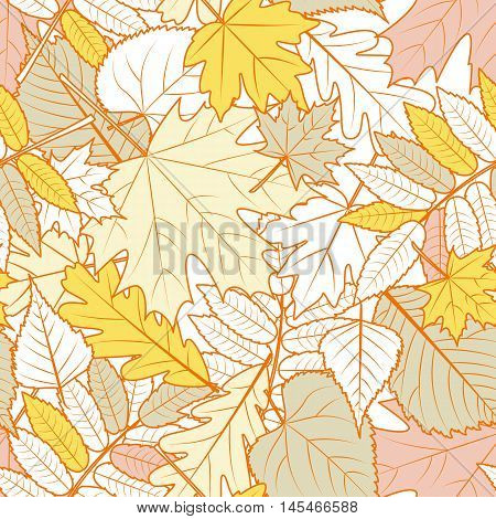 Vector Autumn Leaves Seamless Pattern. Yellow Fall Background With Outline Hand Drawn Leaves.
