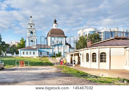 BELGOROD RUSSIA - August 31.2016: The territory of the Marfo-Mariinsky Convent. Pokrovsky Church and church shop
