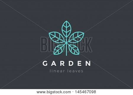 Plant leaves Logo design vector Linear Cosmetics Spa Beauty icon