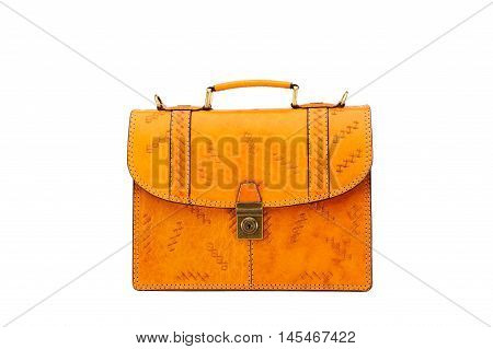 One briefcase leather on the white background