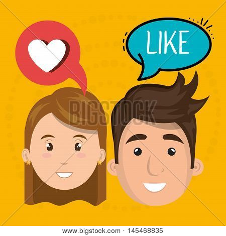 couple speak bubble design vector illustration eps 10
