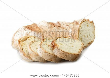 Homemade bread sliced close up on white