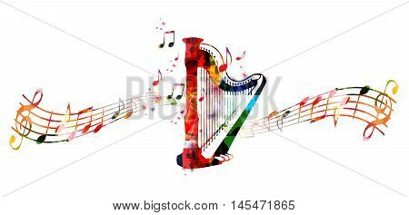 Creative music style template vector illustration, colorful concert harp, music instrument with music staff and notes background. Design for poster, brochure, concert, music festival, music shop