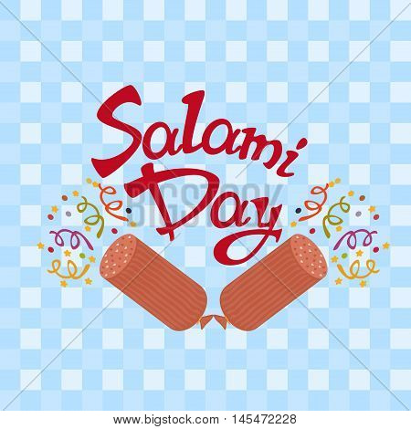 7th September - Salami Day on a light blue tablecloth with salami - firecrackeres