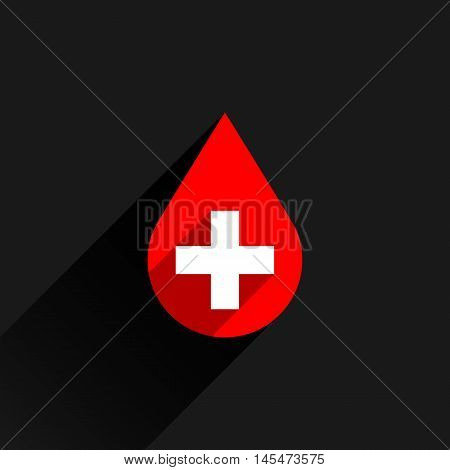Donate drop blood red sign with white cross with gray long shadow in simple flat style. Graphic design elements vector illustration save in 8 eps