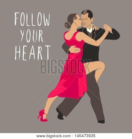 Tango. Dancing couple People dancing. Dance school