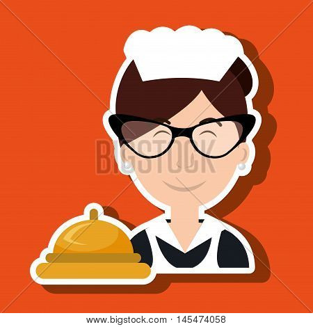 housekeeper woman maid hotel vector illustration design