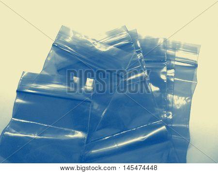 plastic bags with zipper closeup photo in retro style