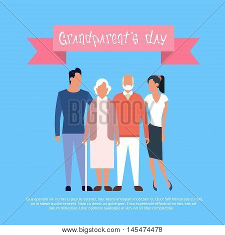 Family Grandfather With Grandmother Happy Grandparents Day Greeting Card Banner Flat Vector Illustration