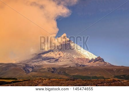 Cotopaxi Volcano During 2015 Eruption Vapors Of Water And Ash Blowing Into The Sky Ecuador South America
